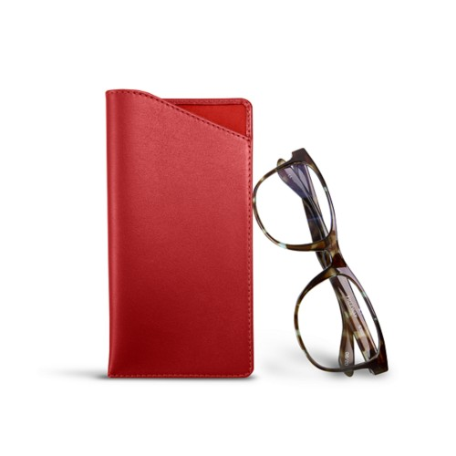 Case for standard size glasses - Red - Smooth Leather