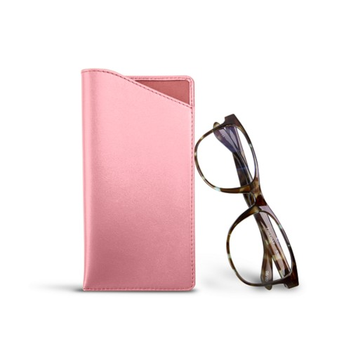Case for standard size glasses - Pink - Smooth Leather