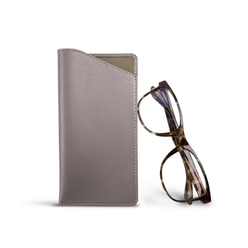 Case for standard size glasses - Light Taupe - Smooth Leather