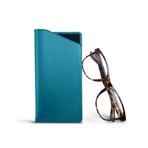 Etui für Brillen in Standardgröße - Türkisblau - Glattleder