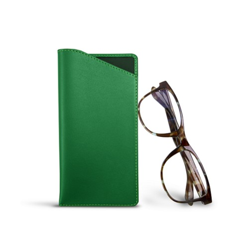 Case for standard size glasses - Light Green - Smooth Leather