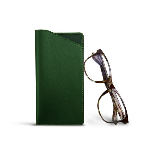 Case for standard size glasses - Dark Green - Smooth Leather