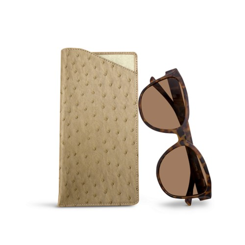 Large Eyeglass Case - Beige - Real Ostrich Leather