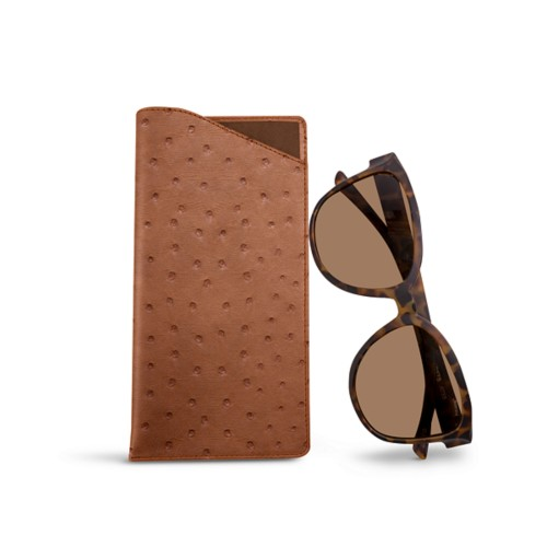 Large Eyeglass Case - Tan - Real Ostrich Leather