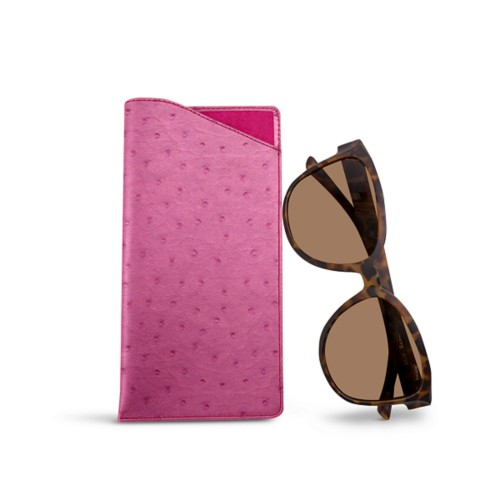 Large Eyeglass Case - Fuchsia  - Real Ostrich Leather