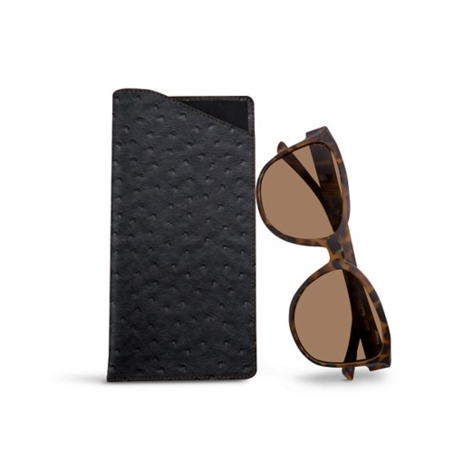 Large Eyeglass Case - Black - Real Ostrich Leather