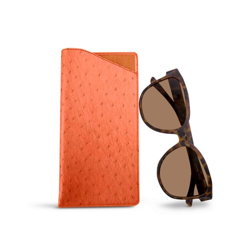 Large eyeglass case - Orange - Real Ostrich Leather