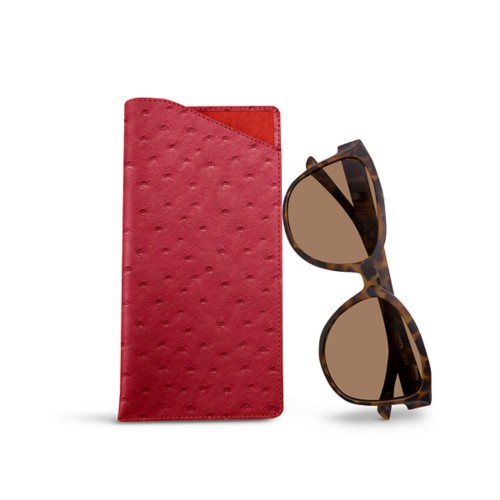 Large eyeglass case - Red - Real Ostrich Leather