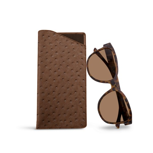 Large eyeglass case - Tobacco - Real Ostrich Leather