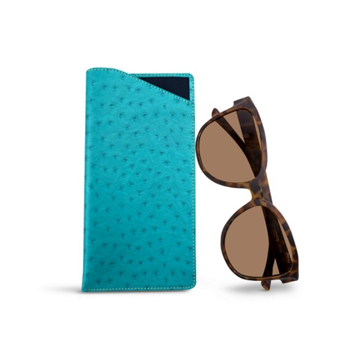Large Eyeglass Case - Turquoise - Real Ostrich Leather