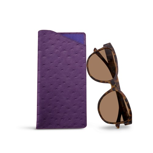 Large eyeglass case - Purple - Real Ostrich Leather