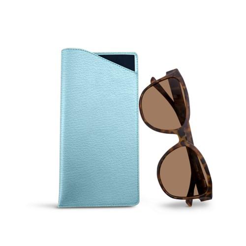 Large Eyeglass Case - Sky Blue - Goat Leather