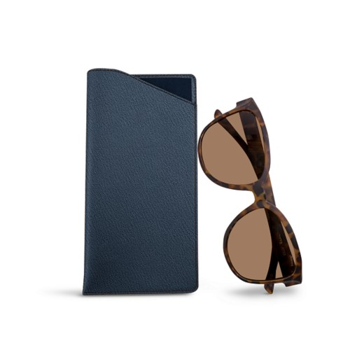 Large Eyeglass Case - Navy Blue - Goat Leather