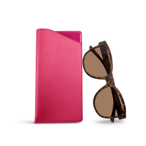 Large eyeglass case - Fuchsia  - Goat Leather