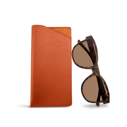 Large eyeglass case - Orange - Goat Leather