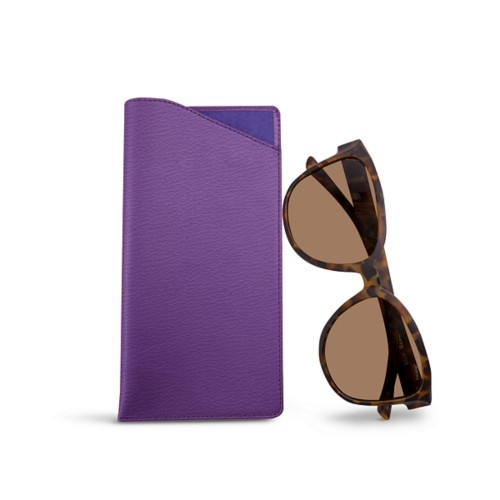 Large Eyeglass Case - Purple - Goat Leather
