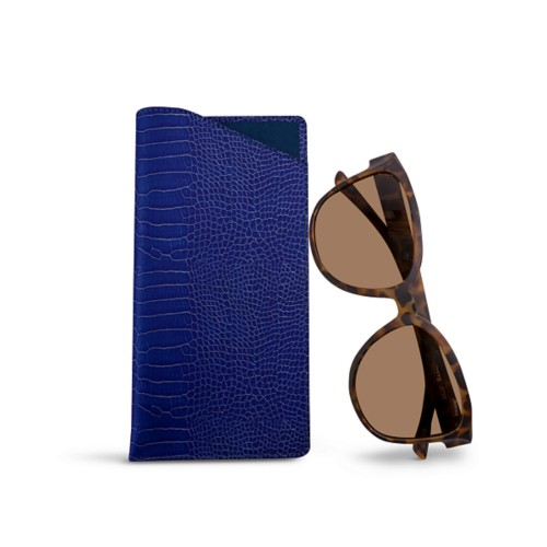 Large Eyeglass Case - Royal Blue - Crocodile style calfskin