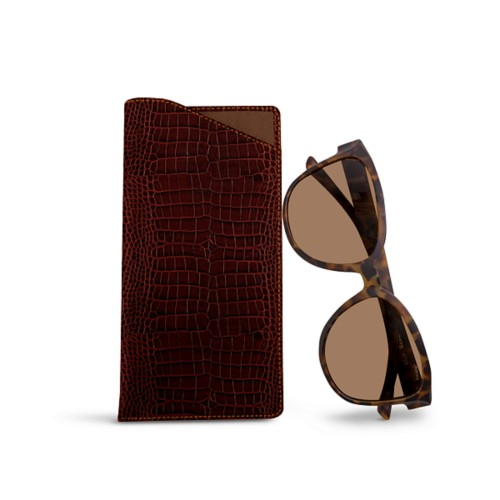 Large Eyeglass Case - Tan - Crocodile style calfskin