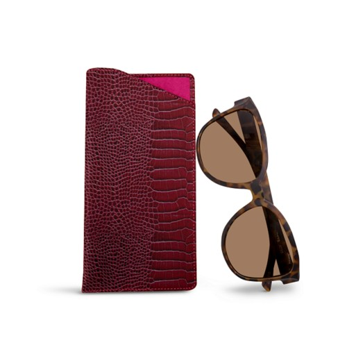 Large Eyeglass Case - Fuchsia  - Crocodile style calfskin