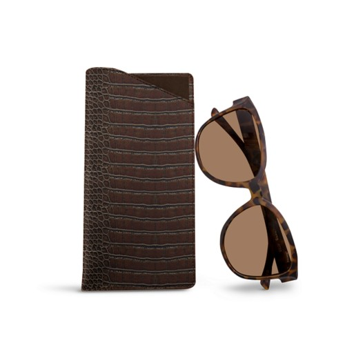 Large eyeglass case - Dark Brown - Crocodile style calfskin