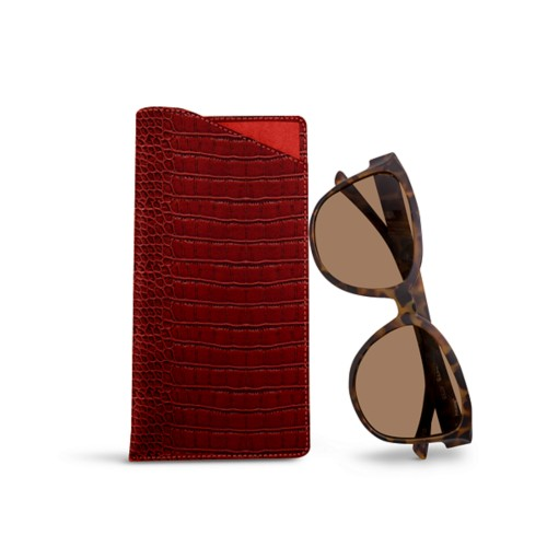 Large eyeglass case - Red - Crocodile style calfskin