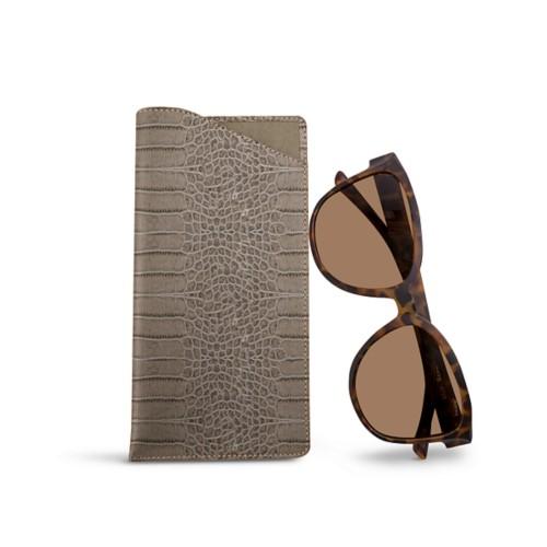 Large eyeglass case - Light Taupe - Crocodile style calfskin