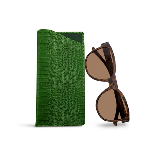 Large eyeglass case - Light Green - Crocodile style calfskin