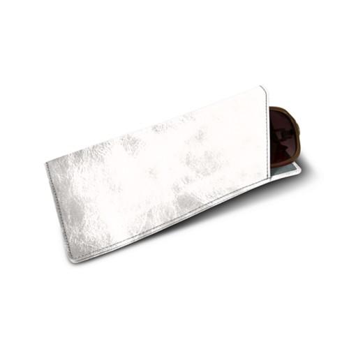 Large eyeglass case - Silver - Metallic Leather