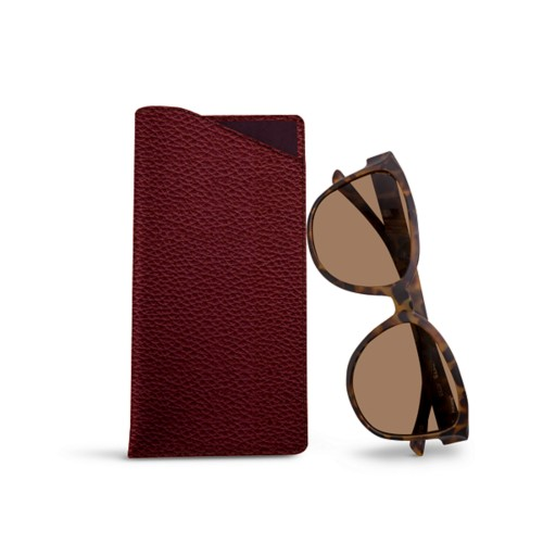 Large Eyeglass Case - Burgundy - Granulated Leather