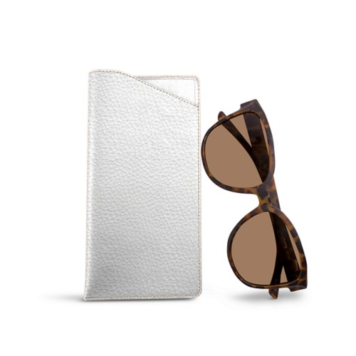 Large Eyeglass Case - White - Granulated Leather