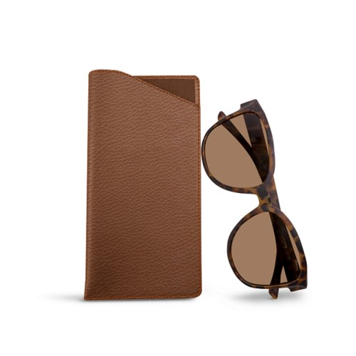 Large Eyeglass Case - Tan - Granulated Leather