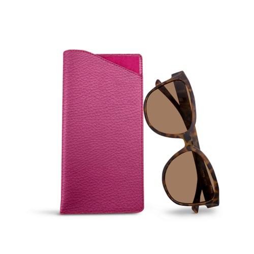 Large eyeglass case - Fuchsia  - Granulated Leather