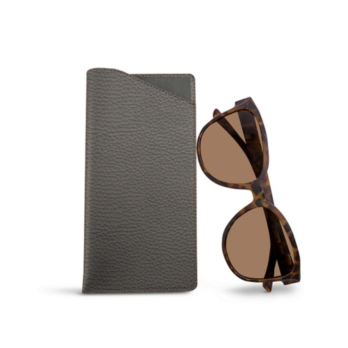 Large eyeglass case - Mouse-Grey - Granulated Leather
