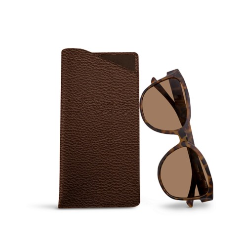 Large Eyeglass Case - Brown - Granulated Leather