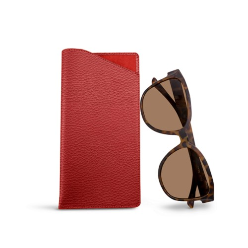 Large Eyeglass Case - Red - Granulated Leather