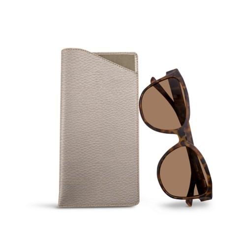 Large Eyeglass Case - Light Taupe - Granulated Leather