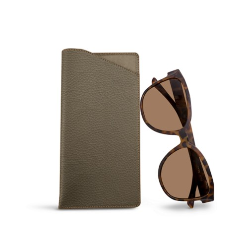 Large Eyeglass Case - Dark Taupe - Granulated Leather