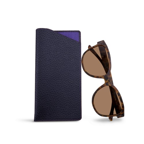 Large Eyeglass Case - Purple - Granulated Leather