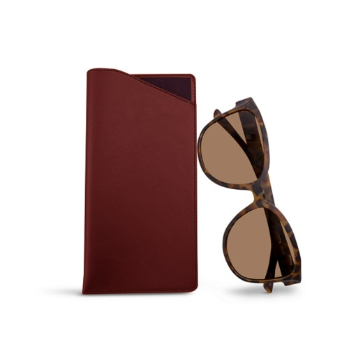 Large Eyeglass Case - Burgundy - Smooth Leather