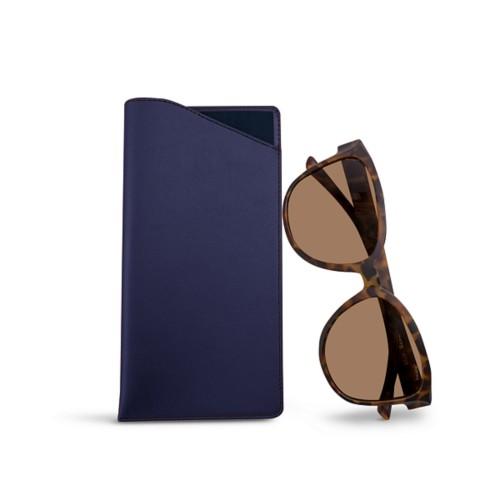 Large eyeglass case - Navy Blue - Smooth Leather