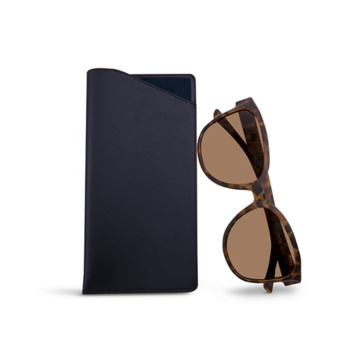 Large Eyeglass Case - Navy Blue - Smooth Leather