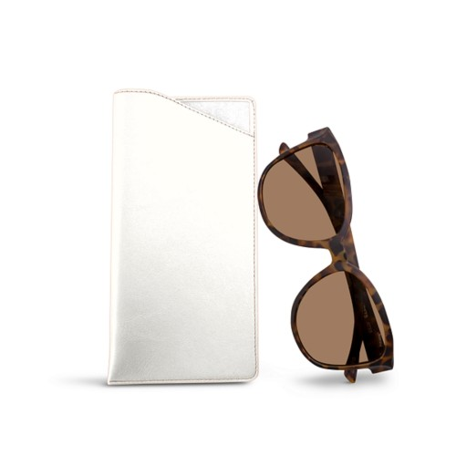 Large Eyeglass Case - White - Smooth Leather