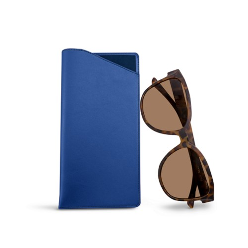 Large Eyeglass Case - Royal Blue - Smooth Leather