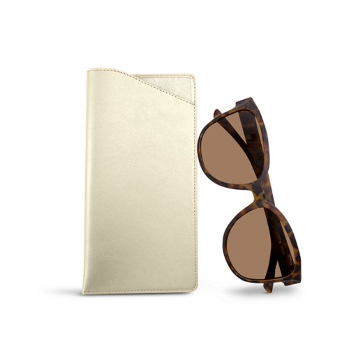 Large Eyeglass Case - Off-White - Smooth Leather