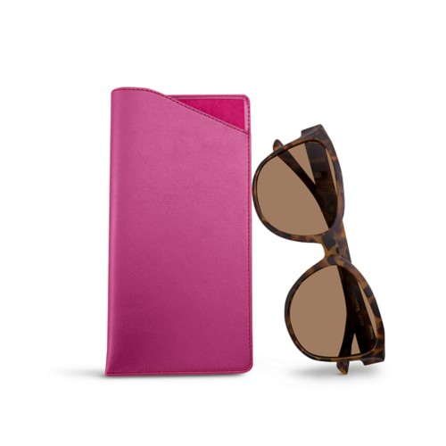 Large eyeglass case - Fuchsia  - Smooth Leather