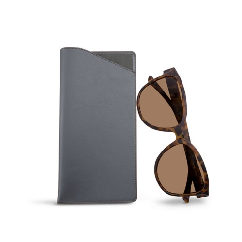 Large eyeglass case - Mouse-Grey - Smooth Leather