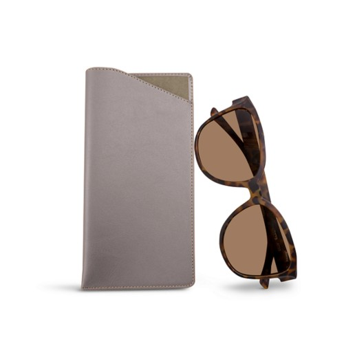 Large Eyeglass Case - Light Taupe - Smooth Leather