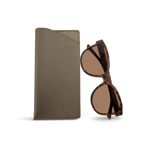Large Eyeglass Case - Dark Taupe - Smooth Leather