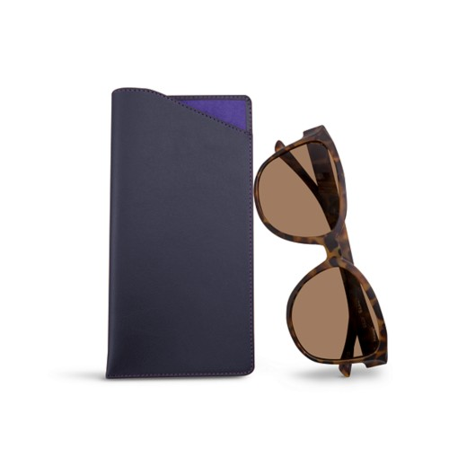 Large Eyeglass Case - Purple - Smooth Leather
