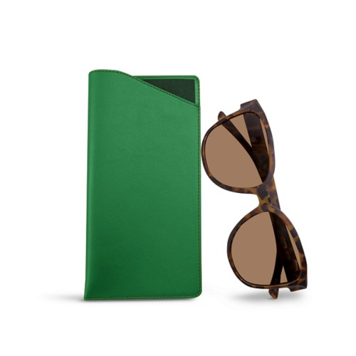 Large Eyeglass Case - Light Green - Smooth Leather